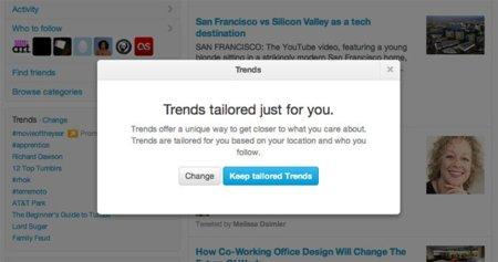 Obsesión por la personalización: Twitter también personalizará los Trending Topics para cada usuario