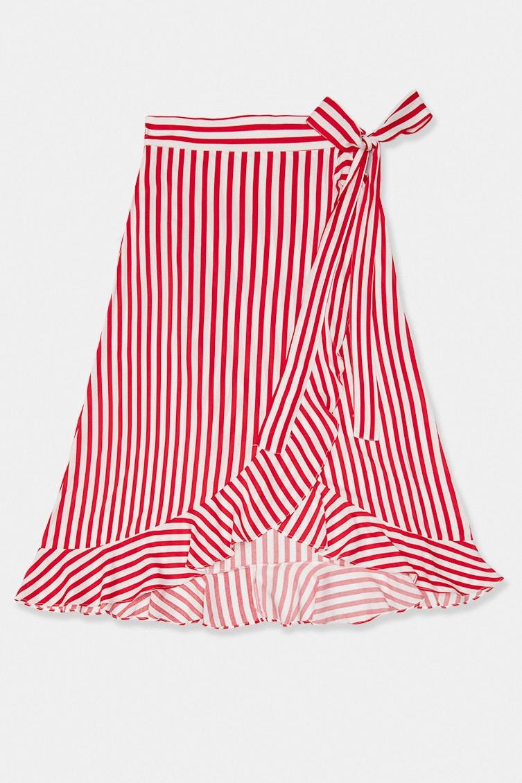 Falda pareo con estampado de rayas