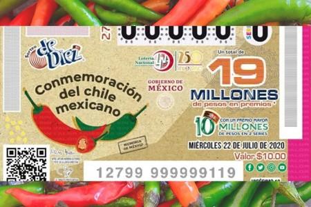 Lotería Nacional presenta billete conmemorativo en honor al chile mexicano