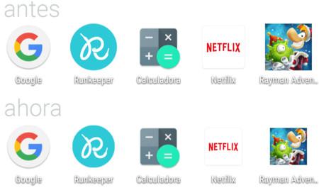 Así quedan los iconos normalizados de la nueva versión de Google Now Launcher