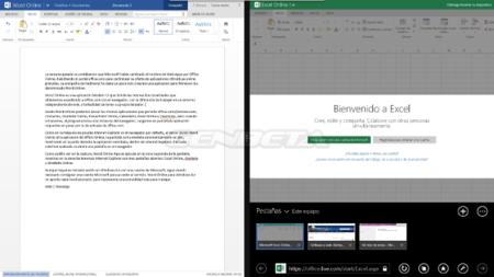 Word Online trabajando en paralelo con internet Explorer
