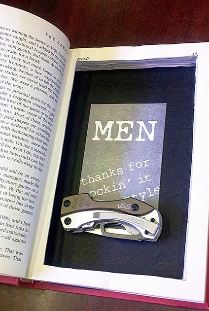A knife in a book, unprofessional