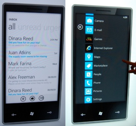 menu microsoft windows phone 7 series