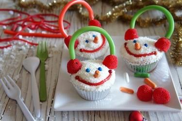 """Receta de cupcakes """"Muñecos de nieve"""""""