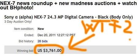 Unidades de Sony NEX-7 subastándose en eBay a precio de oro