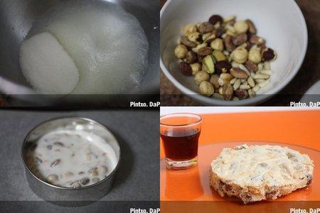 Turrón blanco, duro y ligero de avellanas, piñones y pistachos. Pasos