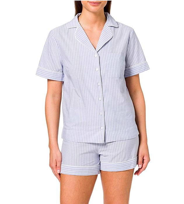 Pijama camisero corto a rayas