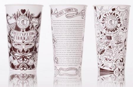 Chipotle Mexican Grill - Literatura en vasos y bolsas de papel