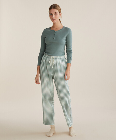 Pijama Cuadro Vichy Navidad Oysho 00004