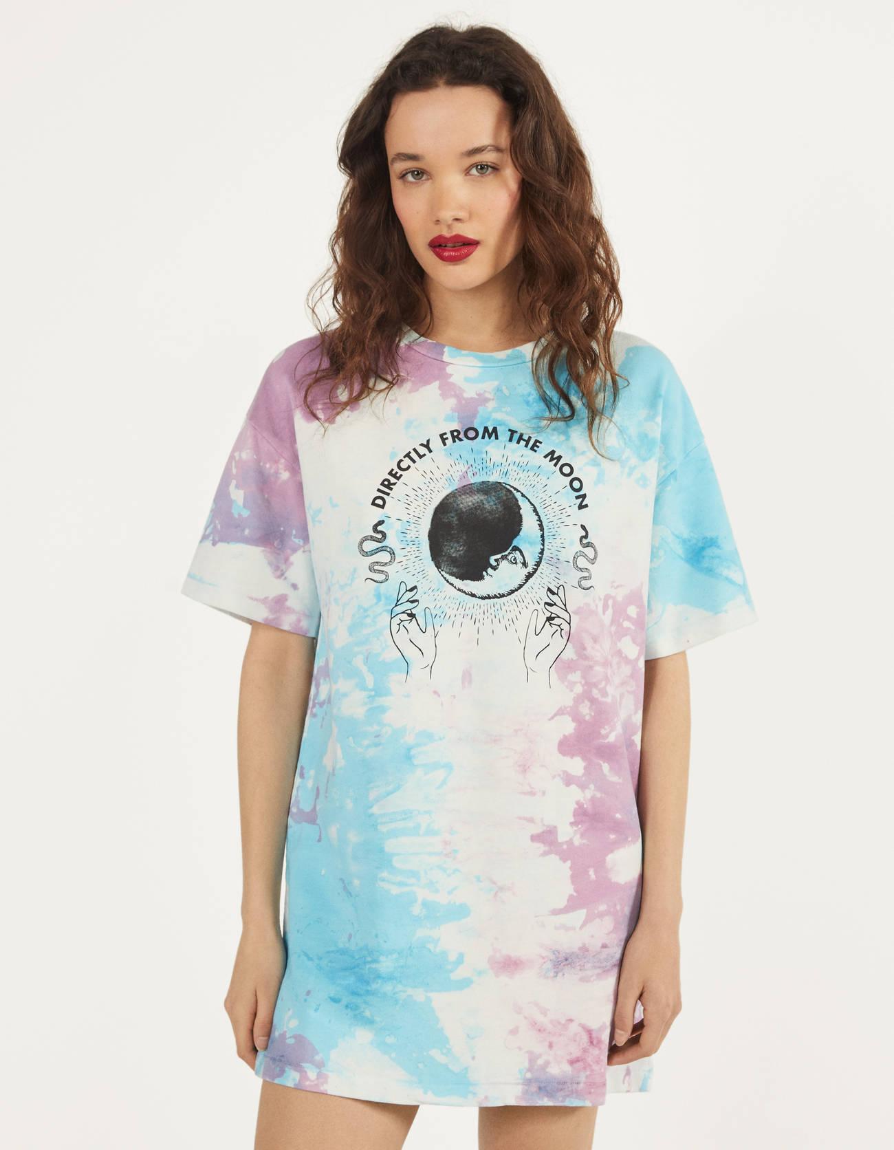Camiseta vestido con estampado místico