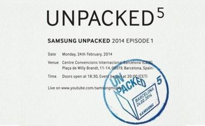 Samsung llevará a cabo su presentación Unpacked 5 desde MWC 2014 el próximo 24 de febrero