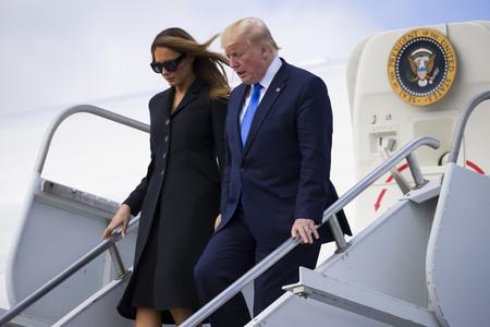 Melania Trump elige un 'look total black' impecable en el 75ª aniversario del desembarco de Normandía