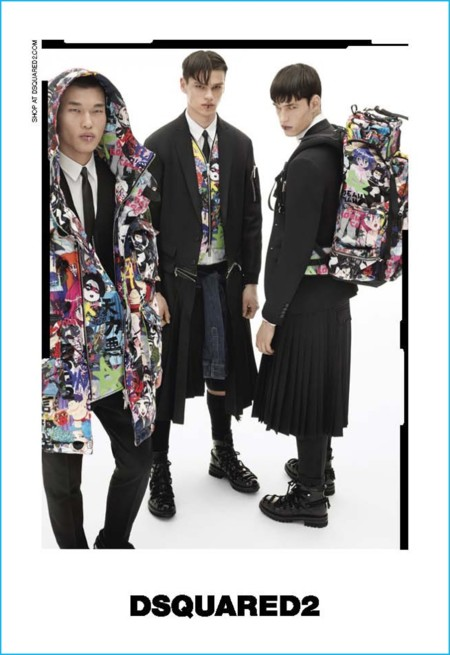 Dsquared2 presenta su campaña de otoño en la que abunda el negro, animaciones japonesas y faldas masculinas