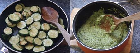 pesto de calabacines elaboración