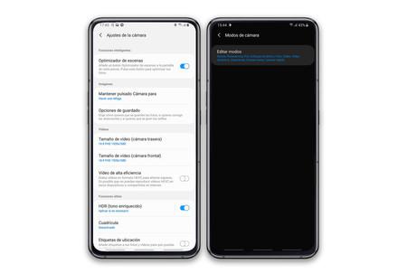 One UI app cámara ajustes