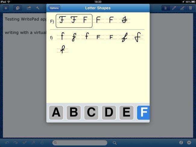 Opciones de reconocimiento de escritura en WritePad