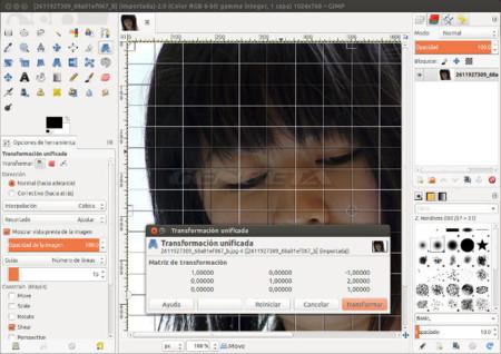 GIMP 2.9 herramienta de transformación unificada