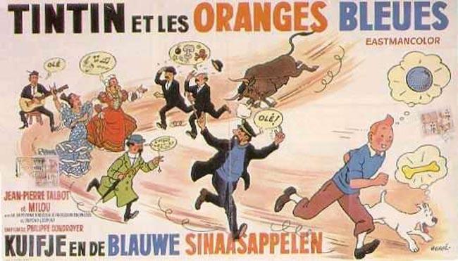 Tintin y el misterio de las naranjas azules cartel