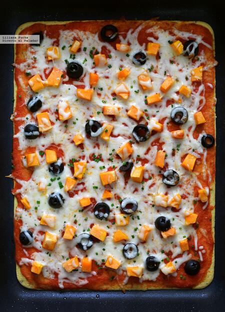 Pizza socca con harina de garbanzos