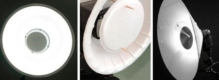 Tres difusores de luz circular de fabricación casera