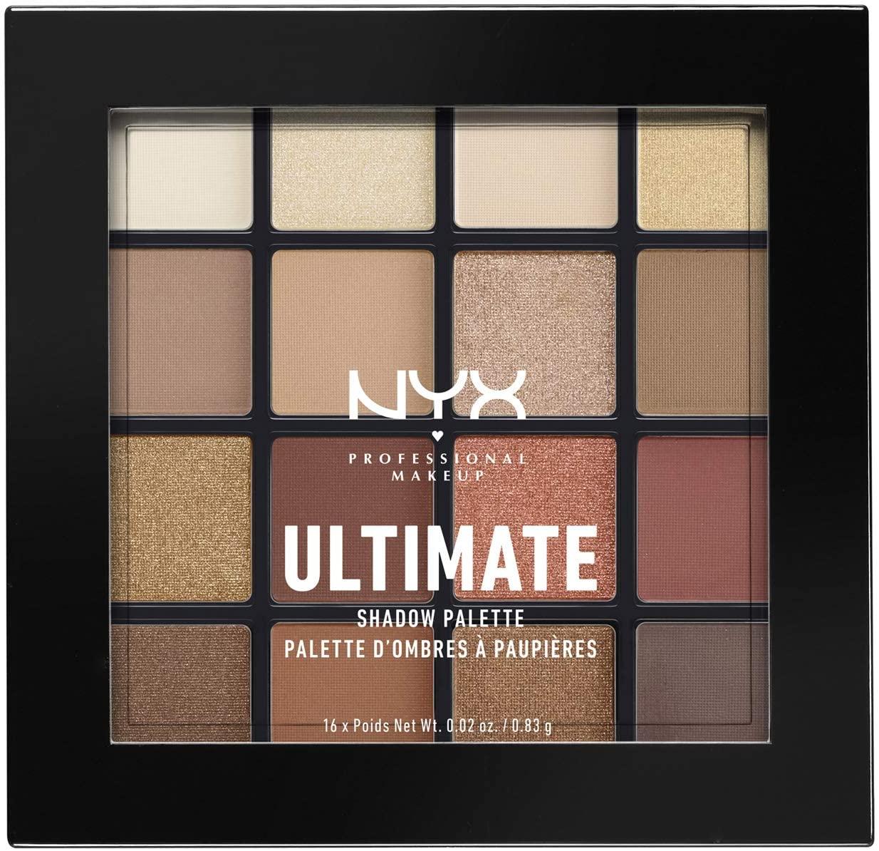 NYX Professional Makeup Paleta de sombra de ojos Ultimate Shadow Palette, Pigmentos compactos, 16 sombras, Tono: Warm Neutrals