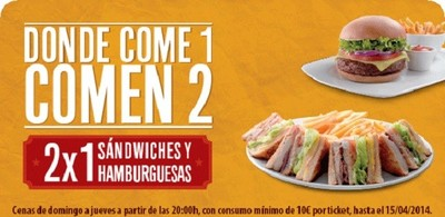 2x1 en sándwiches y hamburguesas de VIPS hasta el 15 de abril