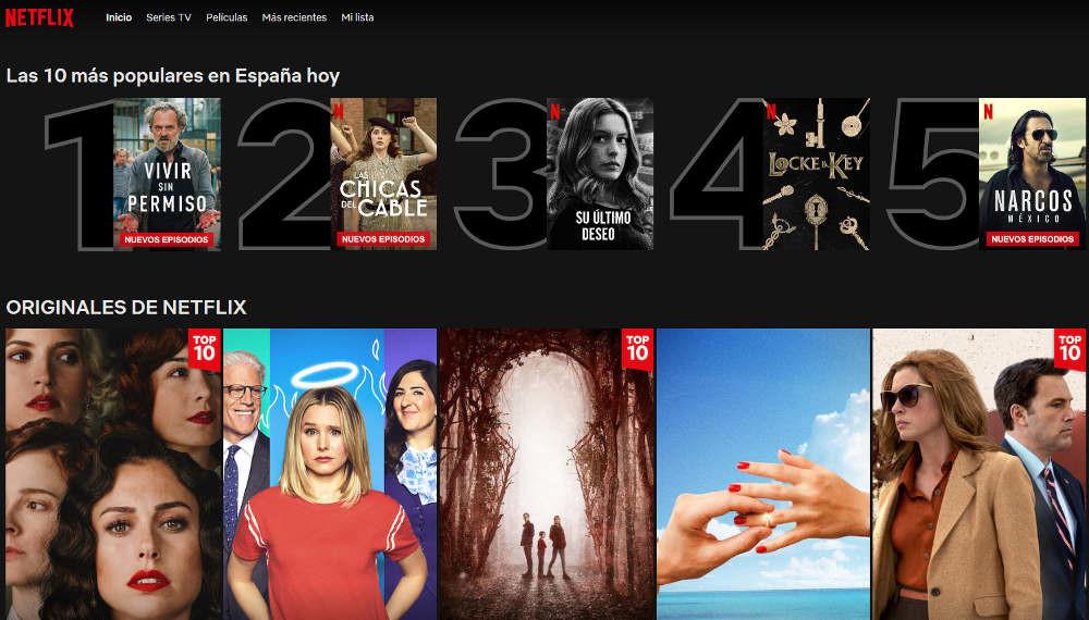 Netflix fügt einen Top-10-filme und-serien mehr aussicht auf seiner plattform
