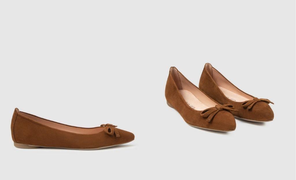 Bailarinas de mujer Unisa de ante en color marrón