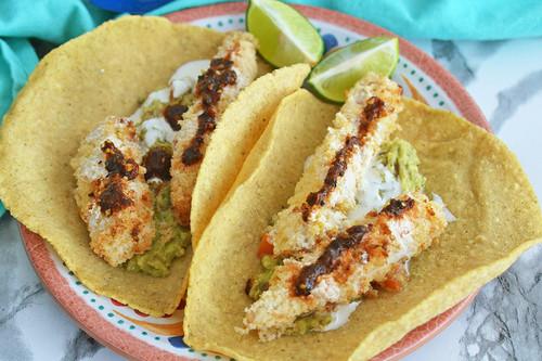 Tacos de pescado empanizado. Receta