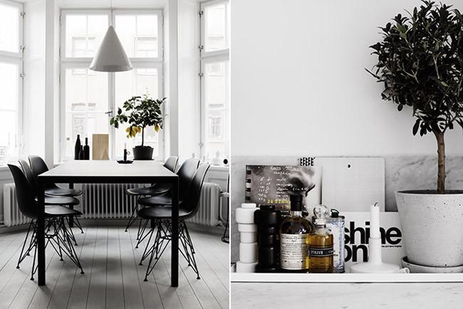 Apartamento en blanco y negro en estocolmo for Comedor blanco y negro
