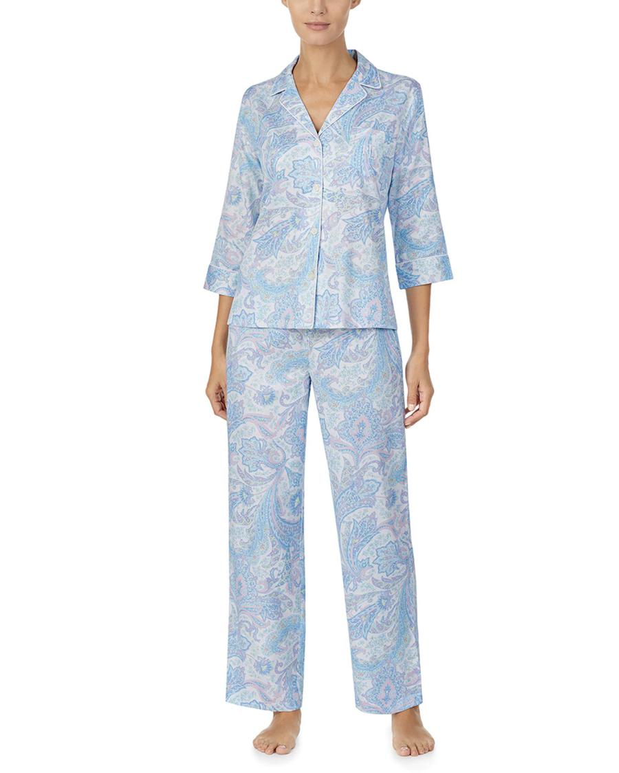 Pijama de mujer manga tres cuartos Classic Wovens estampado paisley