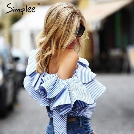 Simplee One Shoulder Ruffles Blouse Shirt Women Tops 2016 Autumn Casual Blue Striped Shirt Long Sleeve