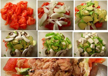 Ensalada de hortalizas, queso fresco y atún