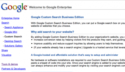 Google Custom Search Business Edition, o cómo Google quiere comerse la red empresarial