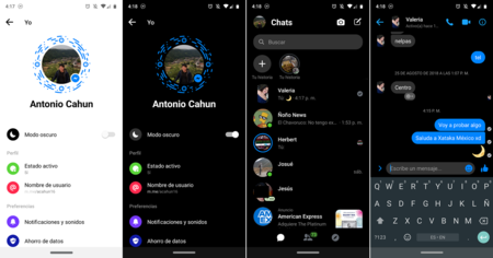 Facebook Messenger Android Modo Oscuro