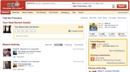 Yelp rediseña su portal web resaltando la actividad de nuestros amigos