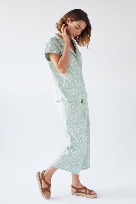 Pijama Camisero Capri Hojas Algodon Organico