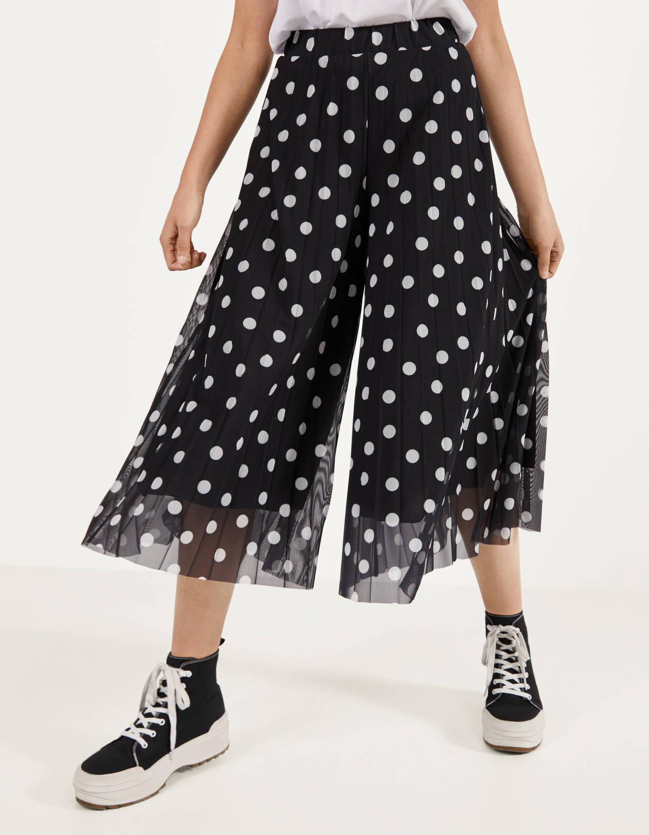 Pantalones culotte de tul plisado