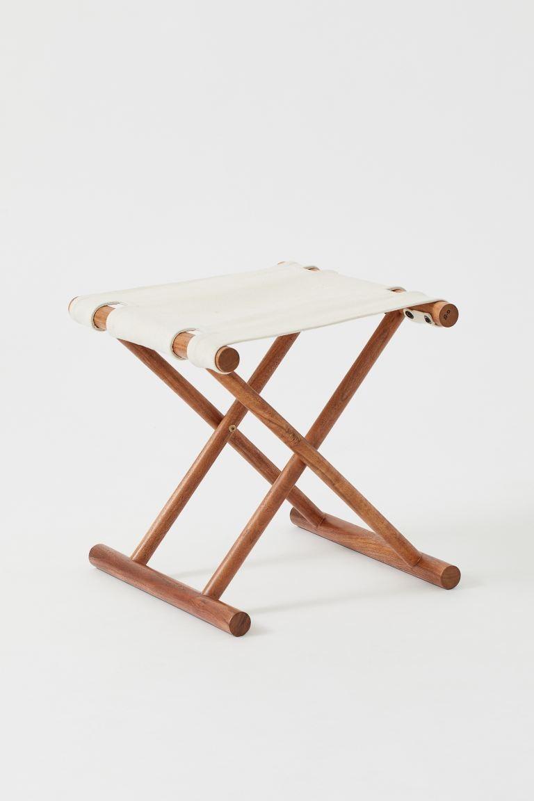 Taburete plegable en madera de mango con asiento en lona gruesa