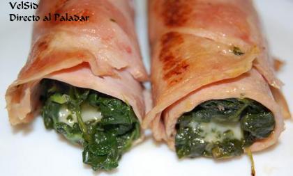 Rollitos de jamón con espinacas