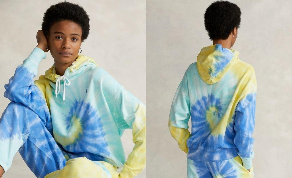 Sudadera de mujer con capucha y estampado tie dye