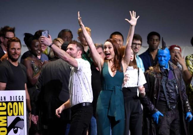 Brie Larson en el panel de Marvel en la Comic-Con