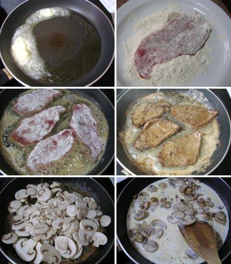 Pasos Receta de escalopines de ternera a la crema