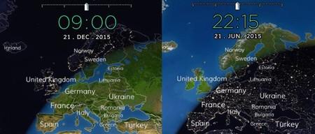 Amanecer invernal y anochecer estival en Europa