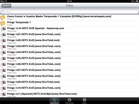 Pantallazo de la aplicación AirPlayer en el iPad