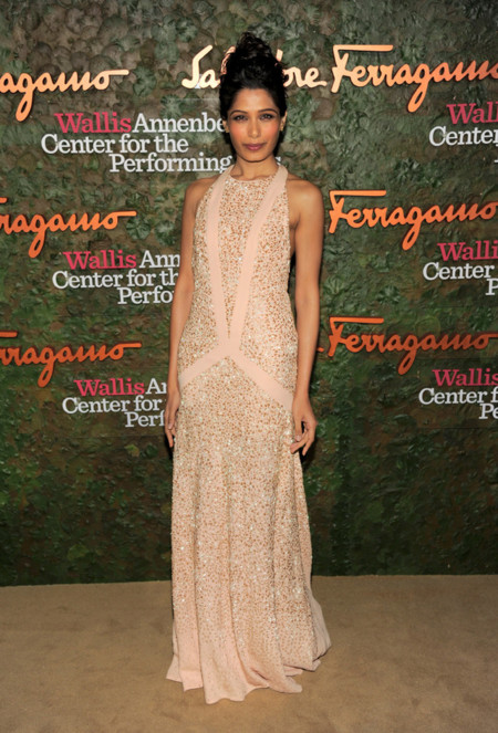 Freida Pinto en la Gala inaugural del Centro de Artes escénicas Willis Anneberg con vestido nude
