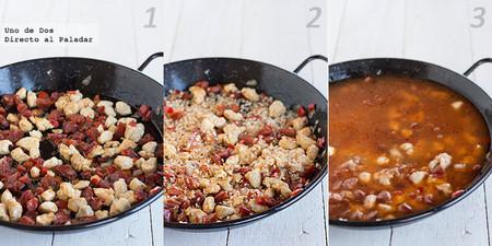 Receta de Arroz meloso con pollo y chorizo paso a paso