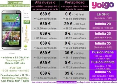 Precios HTC One (M8) con tarifas Yoigo