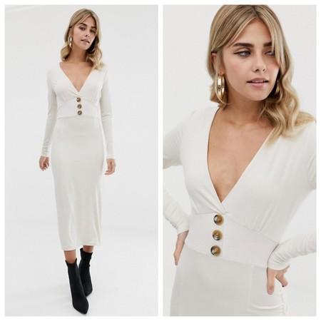Vestido Blanco Botones