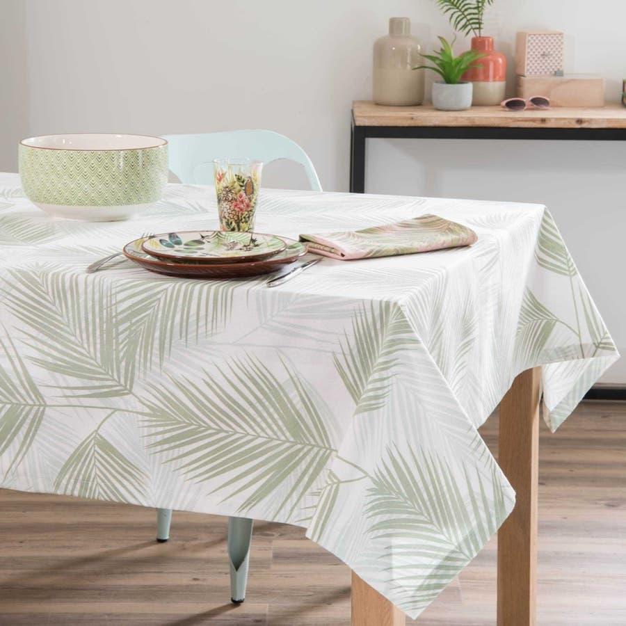 Mantel de algodón con estampado de follaje 250x150 cm